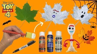 How To Make Painted Halloween Forky Leaf Toy Story 4 Easy Tutorial! DIY Halloween Craft Painted Fork