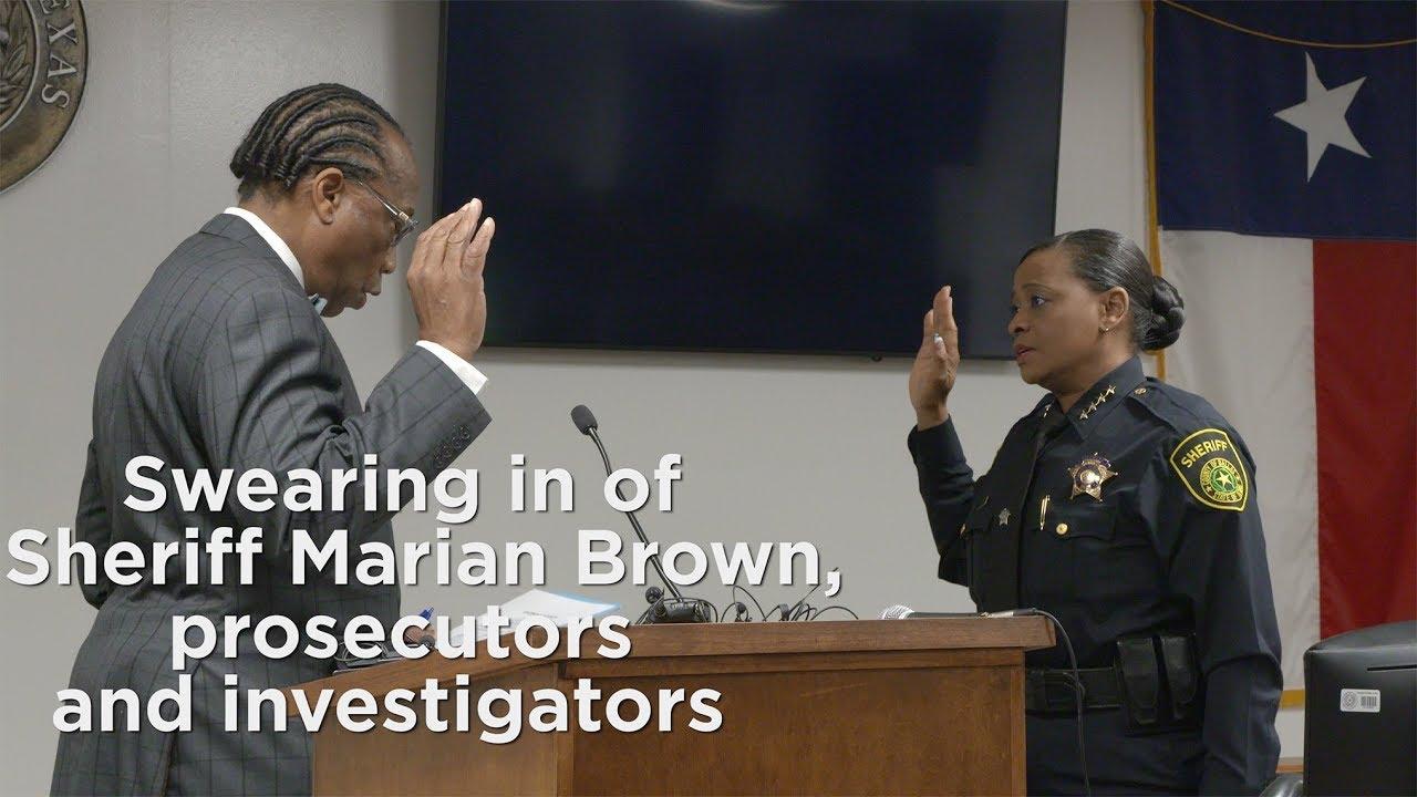 Swearing in of Sheriff Marian Brown, prosecutors and investigators