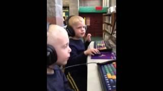 Nate and Noah at library