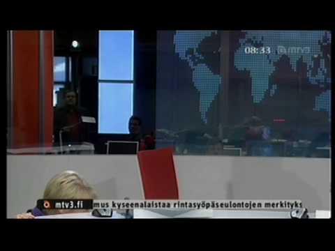 MTV3 24.3.2010 - uutistenlukija putoaa tuoliltaan kesken lähetyksen