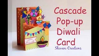 Diwali Popup Card/ Cascade Card for Diwali/ How to make Easy Diwali Greeting Card