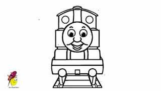 Thomas the Tank Engine   How to draw Thomas the Tank Engine   Easy Draing