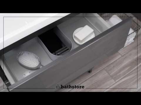 Vermont 600 basin and gloss grey floor standing vanity unit