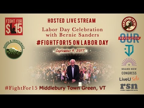 Labor Day Celebration with Bernie Sanders Hosted by Rights & Democracy - Middlebury, Town Green, VT