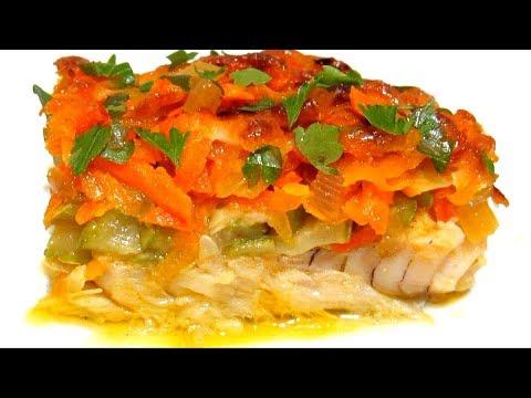 Рецепт треска запеченная в духовке со сметаной под овощами
