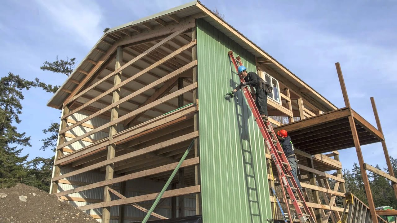 permabilt pole building two story metal garage freeland wa [ 1280 x 720 Pixel ]