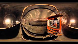 Crossrail Tunnelling: 360° video of locomotive journey through tunnel(This interactive 360° video was shot from the front of one of Crossrail's construction locomotives as it journeyed from Stepney Green cavern to Farringdon., 2015-08-26T10:52:34.000Z)