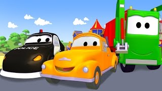 Tom The Tow Truck with the Garbage truck, the Crane, the Police Car and other vehicules in Car City
