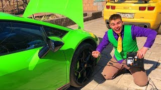 Mr. Joe PUNCTURED Tire on Lamborghini Huracan without Wheels & repair Car in Tire Service for Kids