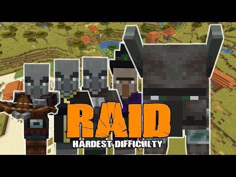 Minecraft 1 14 Survival Village Raid Hardest Difficulty - YouTube