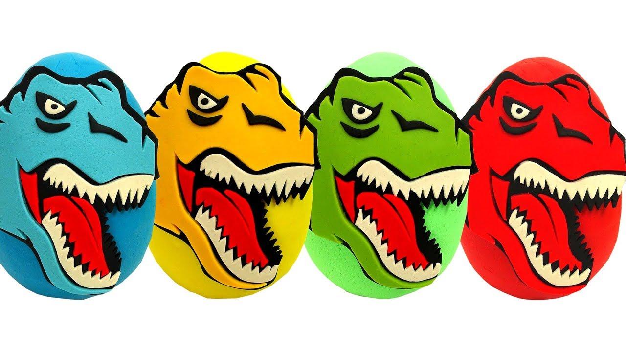 Aprende los Colores con Huevos Sorpresas de Dinosaurios Plastilina ...