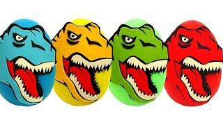Aprende los Colores con Huevos Sorpresas de Dinosaurios Plastilina Play Doh