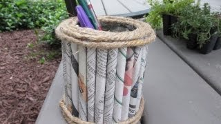 Father's Day Newspaper Pencil Holder Craft Tutorial - Recycling Project