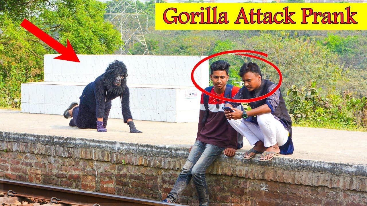 Fake Gorilla Attack Prank | Scary Gorilla Prank on Public (Part 3) | 4 Minute Fun