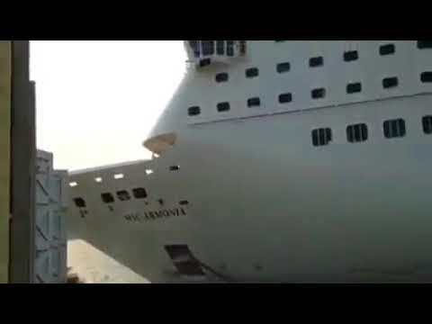 MSC Armonia hitting pier at Roatan Honduras while berthing 10 th April