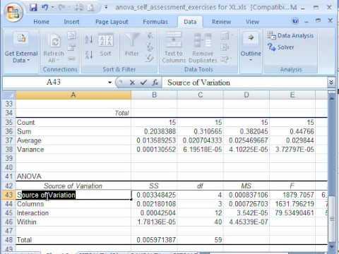 Factorial ANOVA in Excel 2007
