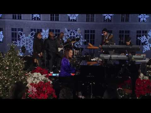 Alicia Keys performing at the Christmas in Rockefeller Center tree lighting