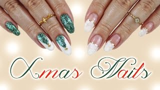 Two Easy Christmas Designs | Snowy French & Christmas Tree Nails♡