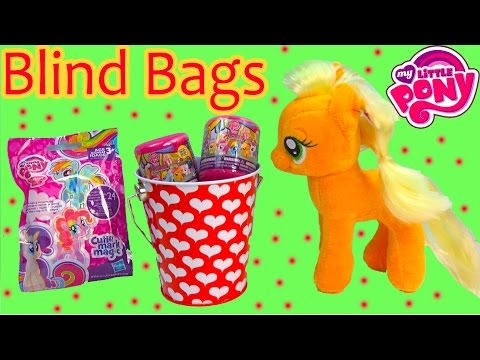 MLP Applejack Pony Valentines Tin Set Fash'ems Blind Bags Cutie Mark Magic Surprise Mystery Toys
