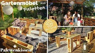 Palettenlounge - Palettenmöbel - Palettensofa - Paletten Lounge + Palettenkissen & Palettenpolster