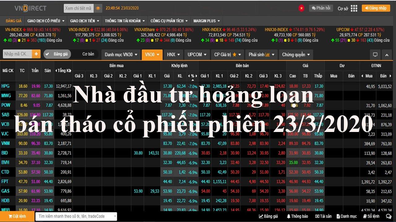 Cổ phiếu giảm sàn la liệt nhà đầu tư liên tục bán tháo phiên 23/3/2020