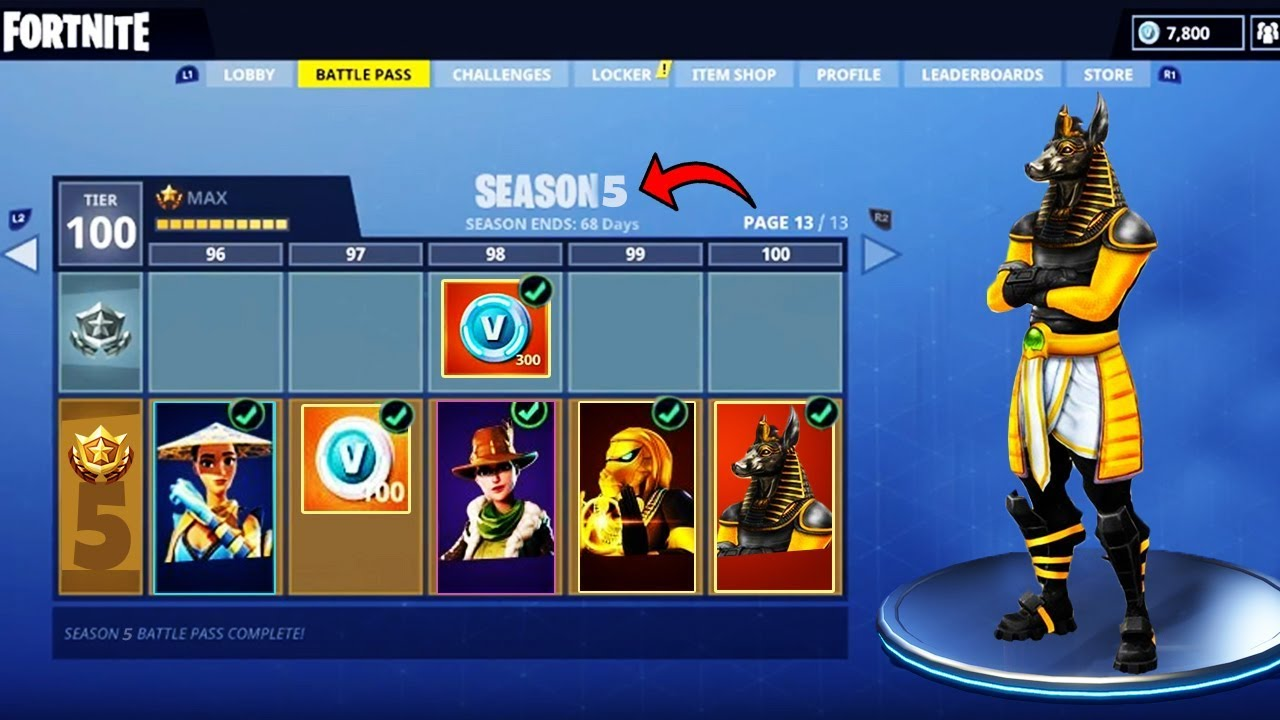 New Max Level Tier 100 Season 5 Battle Pass Skins Confirmed