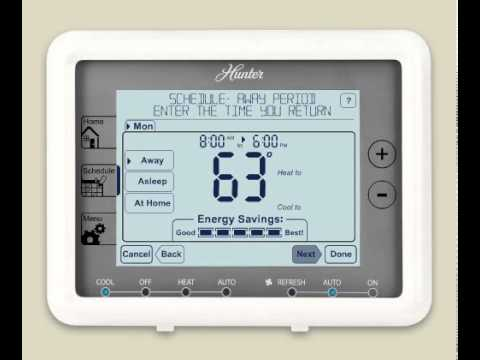 hqdefault how to program a hunter� five minute thermostat (model 44905 hunter thermostat 44905 wiring diagram at n-0.co