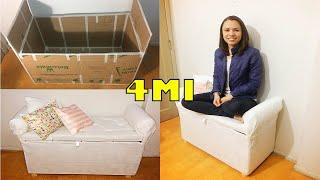 DIY Mini sofá/sapateira de #PAPELÃO | Polly Peçanha