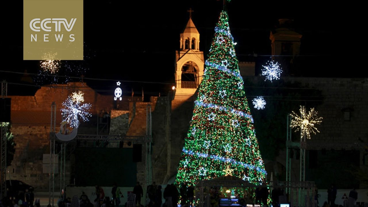 Palestinians Light Up Giant Christmas Tree In Bethlehem