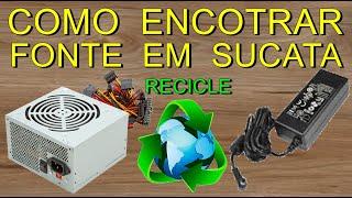 COMO ENCONTRAR FONTE DE ALIMENTAÇÃO GRÁTIS EM SUCATA / FONT / FUENTE DEL ALIMENTACION(Olá amigos do YouTube, neste video ensino como fazer p/ encontrar fonte de alimentação no lixo (reciclagem ), sucata de receptor de tv, podendo retirar 3 volts ..., 2016-03-15T16:28:01.000Z)