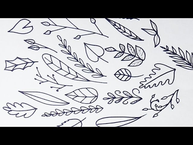How To Draw Simple Leaves And Vines Youtube