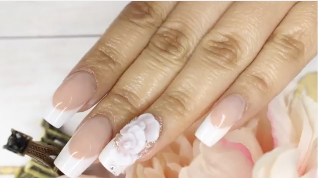 REVERSE FRENCH ACRYLIC NAILS/EASY 3D FLOWER/WEDDING NAILS - YouTube