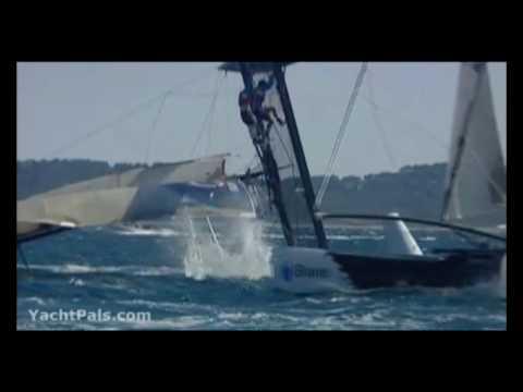 Boats Crashing and Flipping - Sailing Extreme 40 Catamarans
