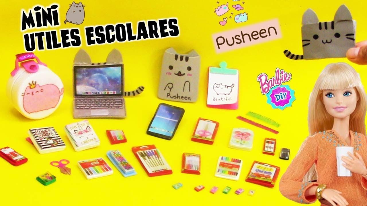 Como Hacer útiles Escolares En Miniatura Para Muñecas Barbie Pusheen Ideas Youtube