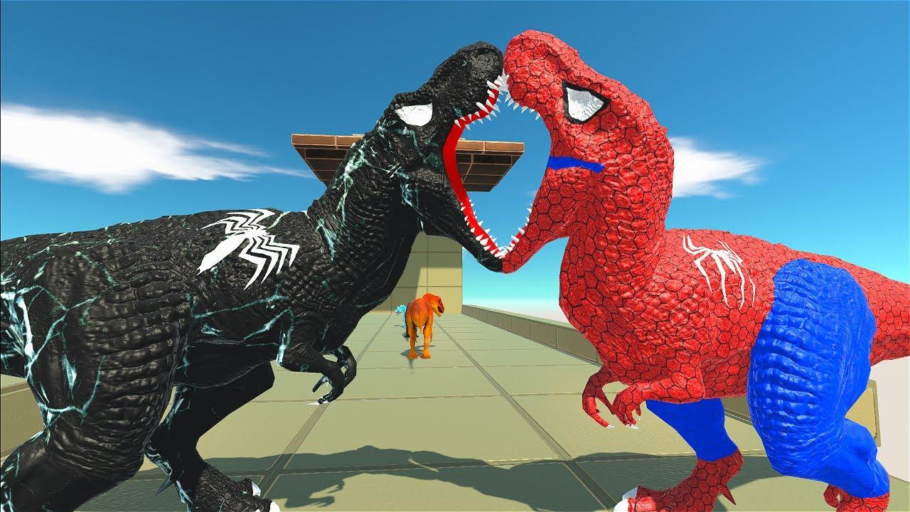 SPIDERMAN T-REX DEATHFALL V2 - Animal Revolt Battle Simulator