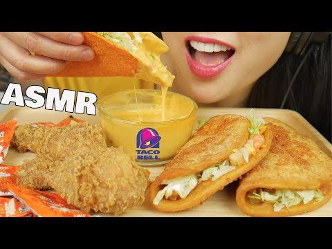 ASMR TACO BELL & KFC FRIED CHICKEN With CHEESE SAUCE (EATING SOUNDS) | SAS-ASMR