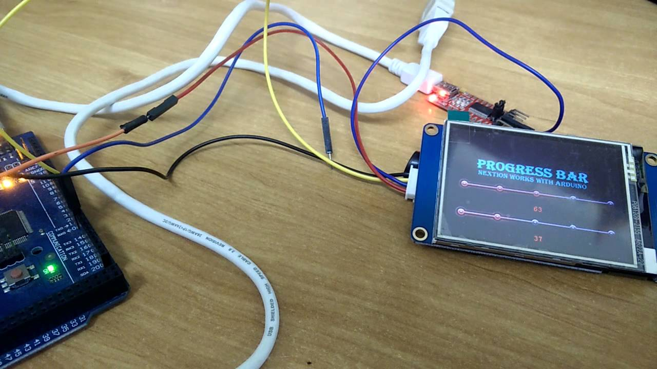 Nextion display and arduino progress bar
