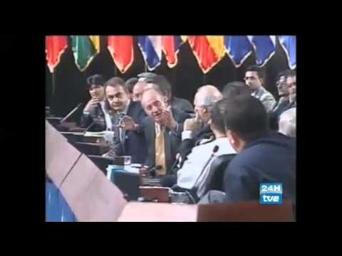 Rey de España manda callar a hugo chavez/ porque no te callas?/presidente hugo chavez