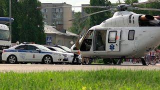 Медицинский вертолет в центре города. Подольск Московская область 9 июня 2020