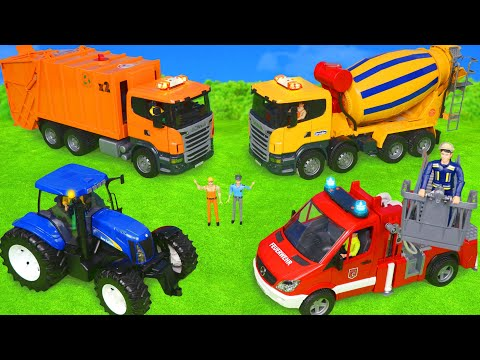 Garbage Truck, Police Cars, Fire Truck, Tractor & Ambulance Toy Vehicles For Kids
