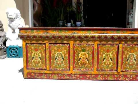 Beau Tibetan Antique CarvePaint Cabinet Buffet Table WK1658