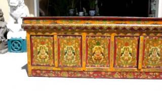 Tibetan Antique Carvepaint Cabinet Buffet Table Wk1658