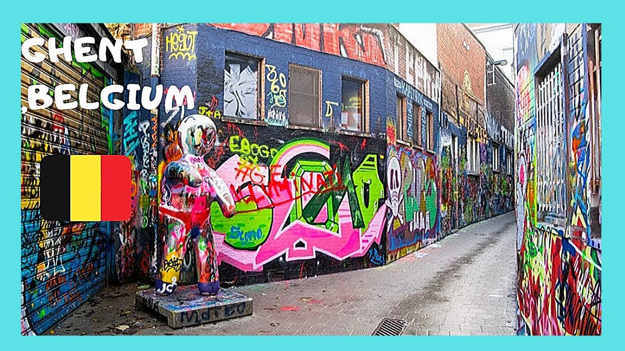 Belgium The Famous Graffiti Street In The Historic City Of Ghent Gent