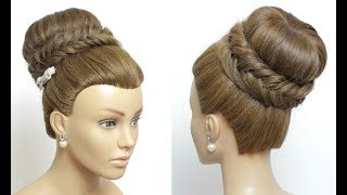 Bridal Prom Hairstyle For Long Hair. High Bun Updo With Fishtail Braid.