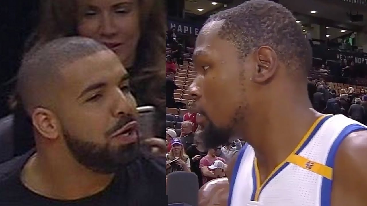 e525269b513 Kevin Durant Threatens Drake With Death Stare After Drake Bumps Him -  YouTube
