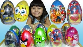 20 Surprise Eggs Opening Superman Batman Jurassic World Paw Patrol Ninja Turtles Angry Birds