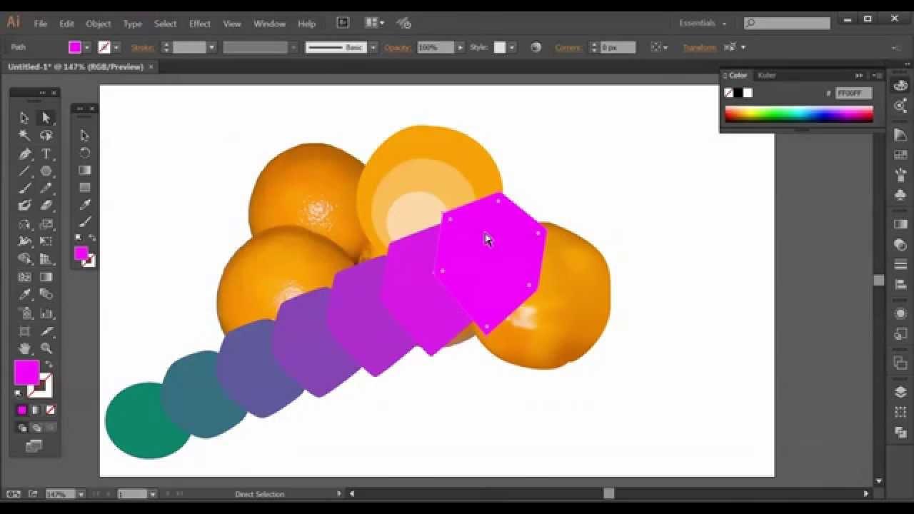 קליקיט - פיתוח עסקי באינטרנט - לימוד אילוסטרייטור - Mesh Tracing Blend Tool
