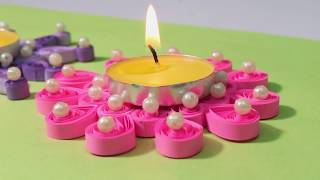 DIY Paper Quilling Candle Holder | Paper Quilling Craft | Diy Paper Quilled Candle Mat