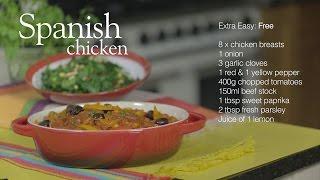Slimming World Spanish chicken and sauteed spinach with raisins