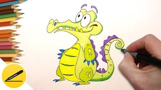 How to Draw Crocodile Swampy Step by Step - Where's my Water Swampy Game Movies(How to draw a Crocodile Swamp. In this video I show you how to draw Swampy from Disney games